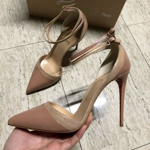 Christian Loubutin Uptown Double 100 Pumps Nude